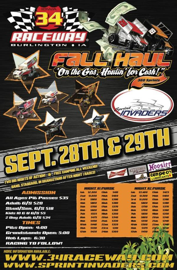 Lap Sponsors/Bonus Money Added to Already Lucrative Fall Haul at 34 Raceway