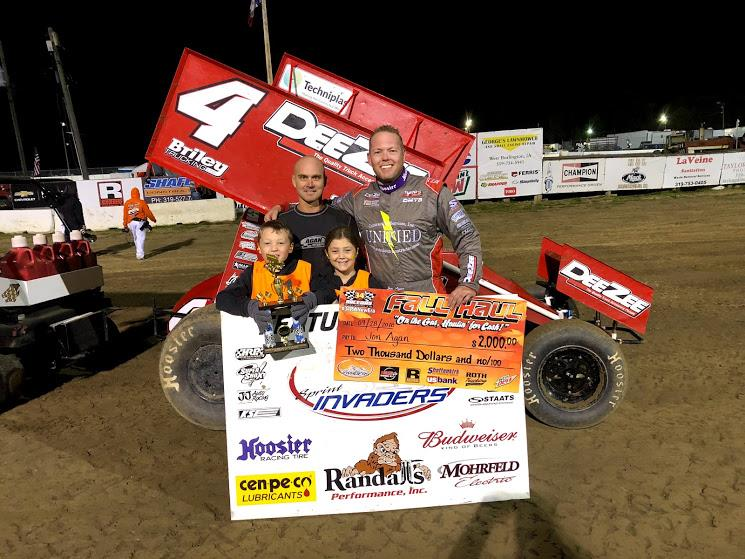 "Jon Agan won the Sprint Invaders ""Fall Haul"" opener at 34 Raceway Friday"