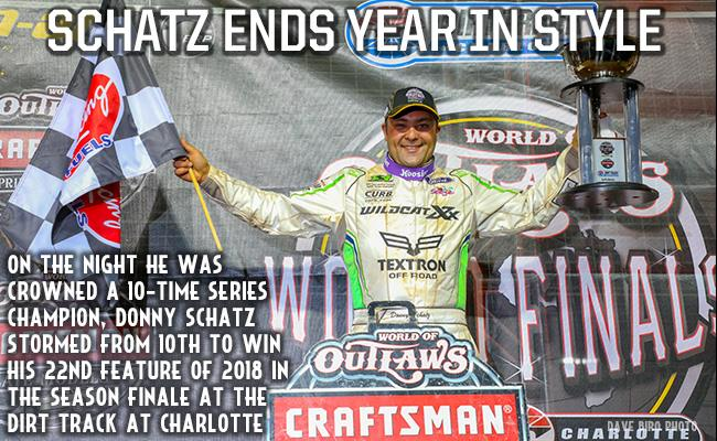 Donny Schatz won the finale Saturday at the World Finals in Charlotte (Dave Biro - DB3 Imaging)