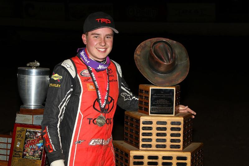 "Christopher Bell became just the third driver to win the ""Turkey Night Grand Prix"" three times, joining Ron Shuman and Billy Boat (Ryan Northcote Photo)"