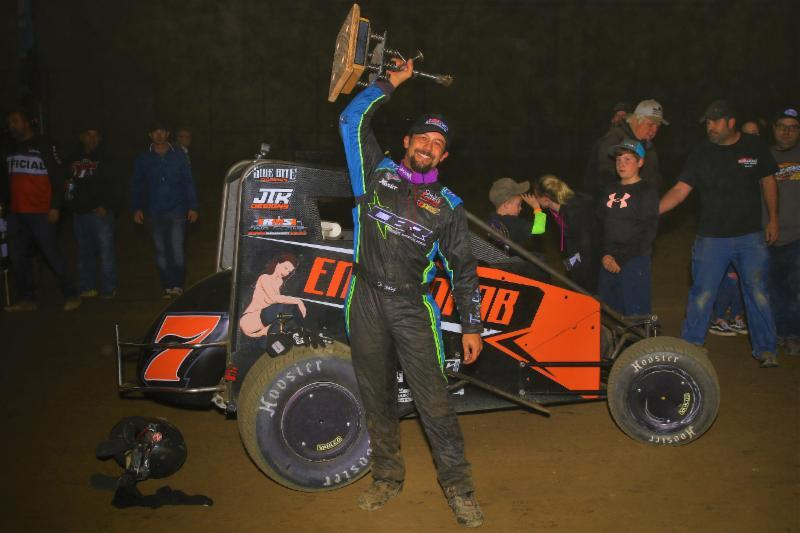 "Thomas Meseraull celebrates Saturday night's victory in the ""Junior Knepper 55"" at the Southern Illinois Center in Du Quoin. (Rich Forman Photo)"