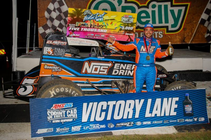 Chris Windom celebrates Thursday night's USAC AMSOIL National Sprint Car season-opening victory at Bubba Raceway Park. (Rich Forman Photo)
