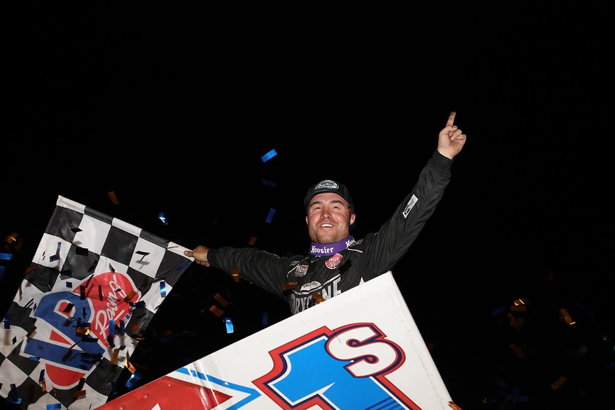 Logan Schuchart won with the World of Outlaws at Devil's Bowl Speedway Friday (Dave Biro - DB3 Imaging)