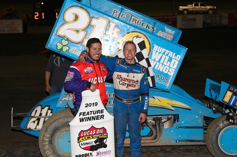 Thomas Kennedy won his second ASCS feature in a row Friday night at US36 (Mike Spieker/ASCS Photo)