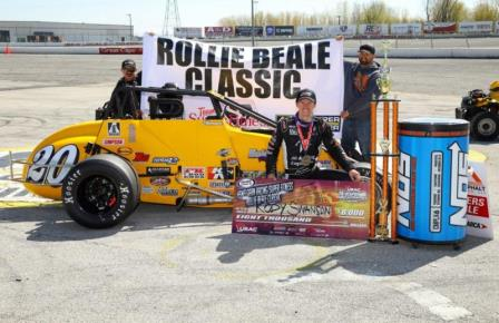 "Kody Swanson holds the check after winning Sunday's ""Rollie Beale Classic"" at Toledo Speedway. (Rich Forman Photo) (Highlight Video from FloRacing.com)"