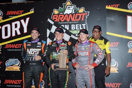 Brady Bacon won the Corn Belt Natonals Opener Friday at Knoxville ahead of Chris Windom (L) and Kevin Thomas Jr. (R) (Video Highlight from DirtVision.com)