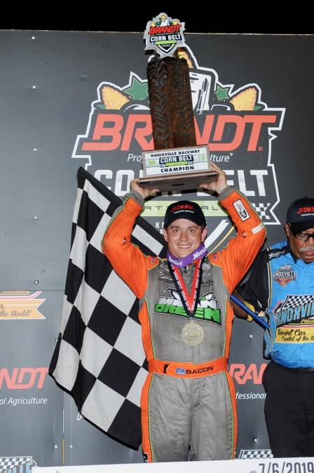 Brady Bacon won the inaugural Corn Belt Nationals at Knoxville Saturday (Ken's Racing Pix) (Video Highlights from DirtVision.com)