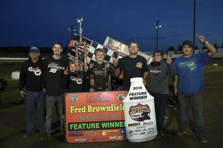 Devon Borden won the opener at the Fred Brownfield Classic in Elma Friday (Malcolm White Photo) (Highlight Video from Racinboys.com)