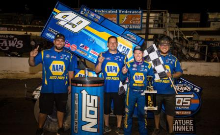 Brad Sweet won the Night before the Ironman 55 at I-55 Raceway Friday (Dave Biro - DB3 Imaging) (Video Highlight from DirtVision.com)