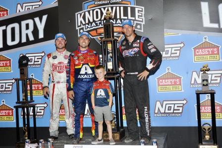 David Gravel celebrates his Knoxville Nationals win with Jaxx Johnson, 2nd place Logan Schuchart (L) and 3rd place Daryn Pittman (R) (Ken Berry Racing Pix) (Video Highlight from DirtVision.com)