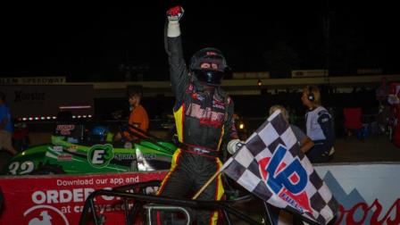 Kody Swanson celebrates his fourth consecutive victory in the Joe James/Pat O'Connor Memorial Saturday night at Salem Speedway. (Dallas Breeze Photo) (Video Highlight from FloRacing.com)