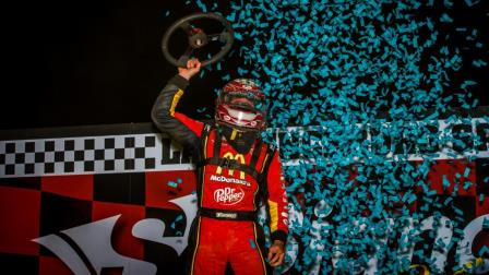 Kevin Thomas, Jr.'s win Saturday night at Lawrenceburg was his 27th career USAC AMSOIL National Sprint Car feature victory, moving him past Tony Elliott and Dave Steele and into a tie for 16th on the all-time list alongside Brady Bacon (Dallas Breeze Photo) (Video Highlights from FloRacing.com)