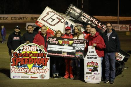 Sam Hafertepe Jr. won the ASCS stop at Creek County Saturday (David Campbell Photo) (Video Highlights from Racinboys.com)