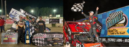 Bill Balog (IRA photo) and Kerry Madsen (Chuck Stowe Images) are in the running for the Midwest Thunder Sprints presented by OpenWheel101.com crown