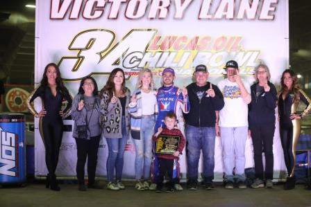 Kyle Larson won night #2 at the Chili Bowl (Dave Biro - DB3 Imaging) (Video Highlights from Racinboys.com)