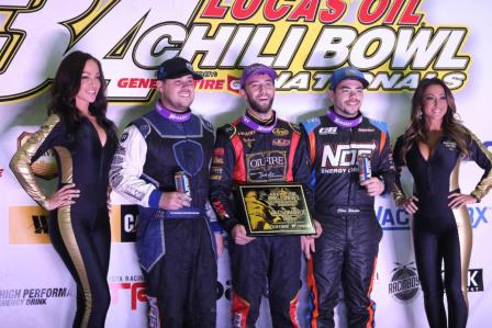 Tanner Thorson took Friday's prelim at the Chili Bowl (Dave Biro - DB3 Imaging)