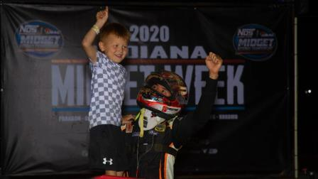 Kyle Larson celebrates with his son, Owen, after winning his third consecutive Indiana Midget Week feature Thursday at Lincoln Park Speedway (Rich Forman Photo) (Video Highlights from FloRacing.com)