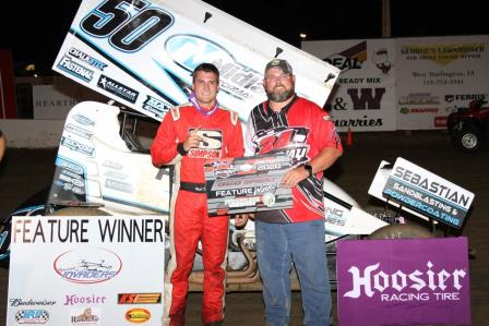 Paul Nienhiser won the Sprint Invaders feature at 34 Raceway Saturday (MF Photography)
