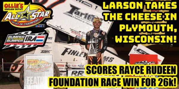 Kyle Larson Pads All Star Circuit of Champions Win Streak with $26,000 Rayce Rudeen Foundation Race Victory