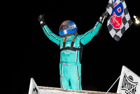 Jacob Allen won his first career WoO feature at Dodge City Friday (Trent Gower Photo) (Video Highlights from DirtVision.com)