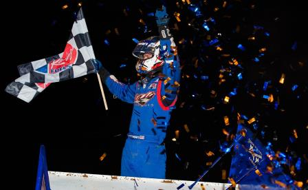 Daryn Pittman won the WoO feature at Lawton Friday (Trent Gower Photo) (Video Highlights from DirtVision.com)