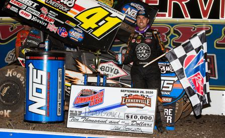 David Gravel won the WoO stop at Lernerville Saturday (Trent Gower Photo)