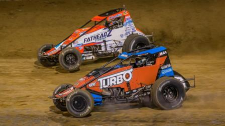Brady Bacon (outside) and Tyler Courtney (inside) battle for the lead during Saturday night's Fall Nationals at Lawrenceburg (Ind.) Speedway (Dallas Breeze Photo) (Video Highlights from FloRacing.com)