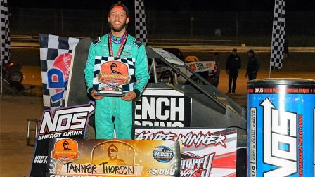Tanner Thorson (Minden, Nev.) scored Friday's Jason Leffler Memorial USAC NOS Energy Drink National Midget victory at Wayne Co. Speedway in Wayne City, Ill. (Lonnie Wheatley Photo) (Video Highlights from FloRacing.com)