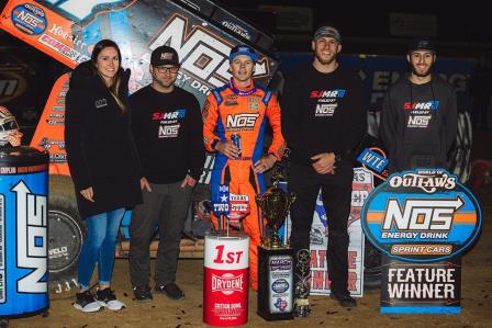Sheldon Haudenschild won the prelim with the WoO at Cotton Bowl Speedway Friday (Trent Gower Photo) (Video Highlights from DirtVision.com)