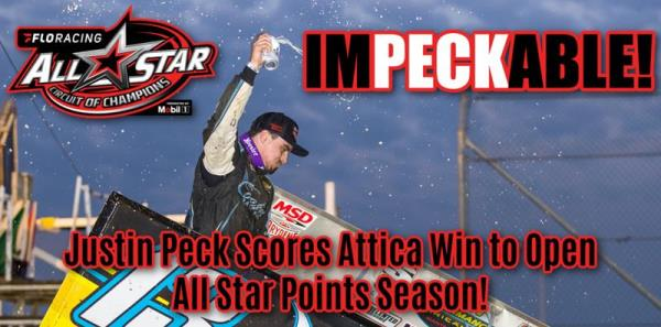 Justin Peck Opens All Star Points Championship with Sprint Nationals Win at Attica Raceway Park