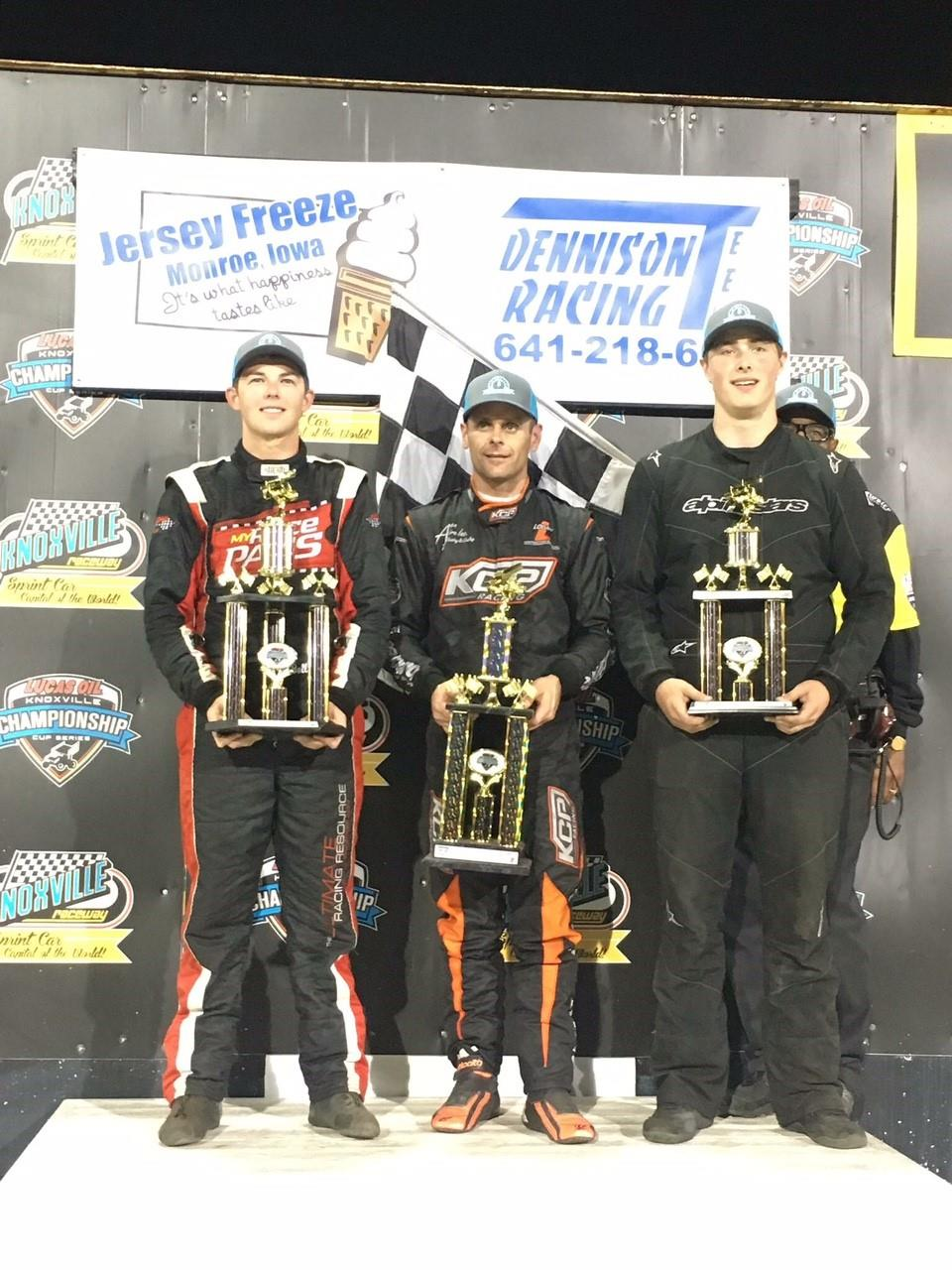 The three winners at Knoxville Saturday were Jamie Ball (360), Ian Madsen (410) and Evan Epperson (305) (Knoxville Raceway Photo)