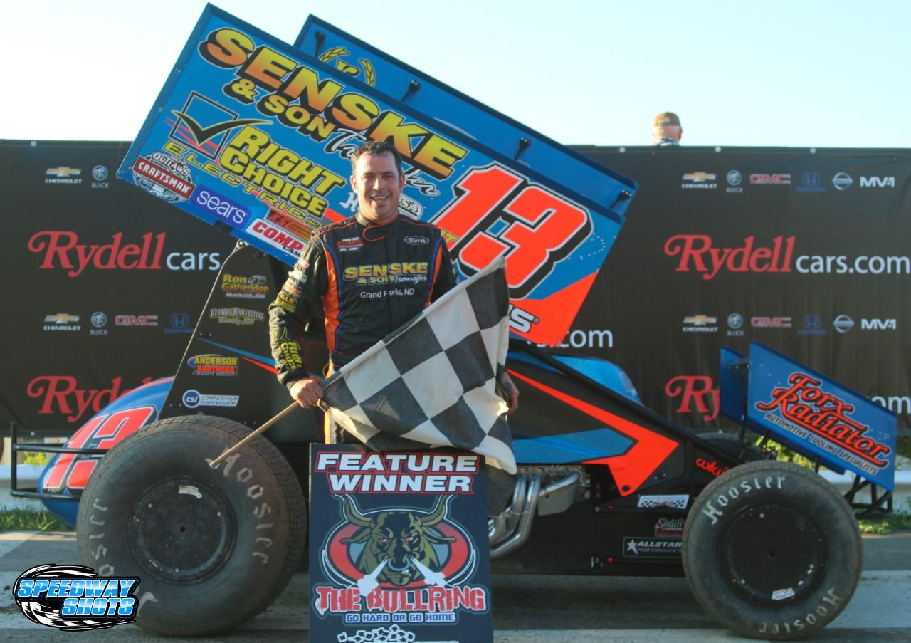 Mark in Victory Lane for the first of two feature wins at River Cities Friday (Mike Spieker – Speedway Shots)
