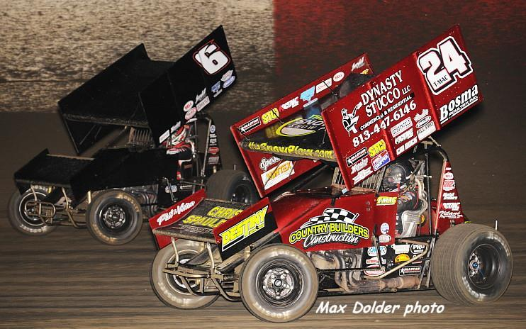 Carson rides the cushion while Terry runs the low side at East Bay (Max Dolder Photo)