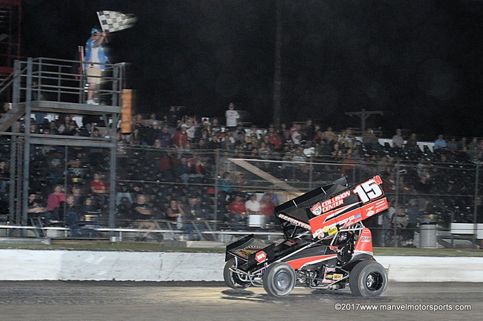 Sam crosses the finish line to sweep the weekend at Devil's Bowl (Carey Akin/ www.ManvelMotorsports.com Photo)