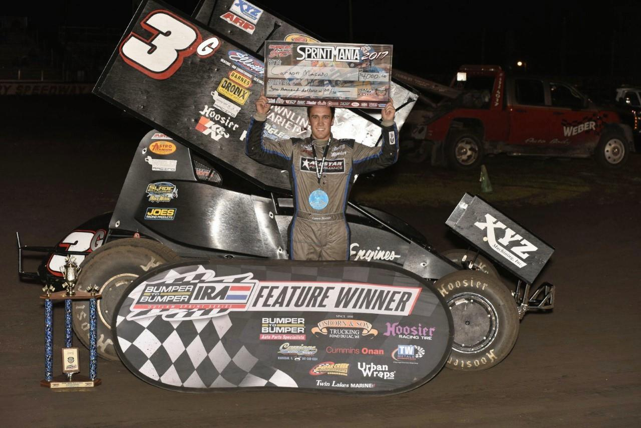 Carson Macedo won last Saturday night with the IRA and MOWA series at Fairbury American Legion Speedway in Illinois (Mark Funderburk Racing Photo)
