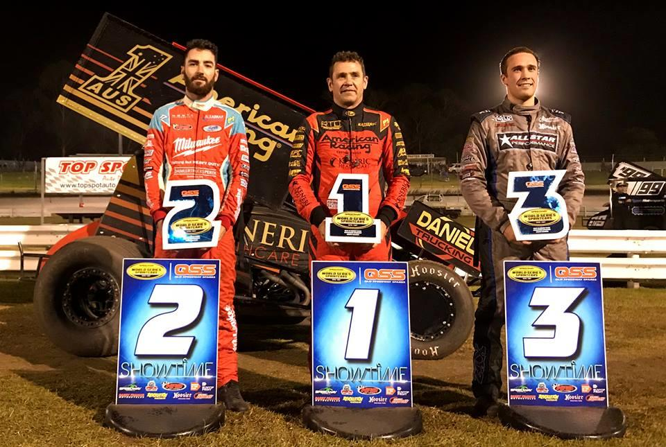 Kerry Madsen beat James McFadden and Carson Macedo to the stripe in WSS action December 28 at Borderline Speedway (WSS Photo)