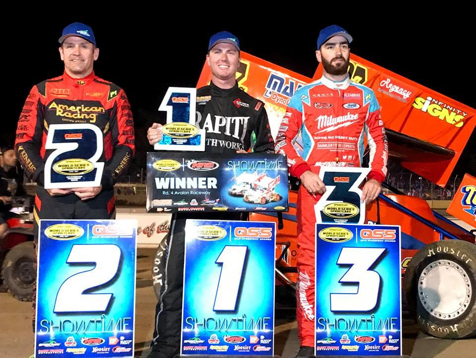 Matt Egel took his second career WSS win over Kerry Madsen and James McFadden at Avalon Raceway December 30 (WSS Photo)