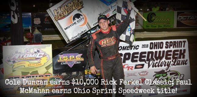 Cole Duncan won the Ohio Speedweek finale at Atomic Saturday (Vince Vellella Photo)