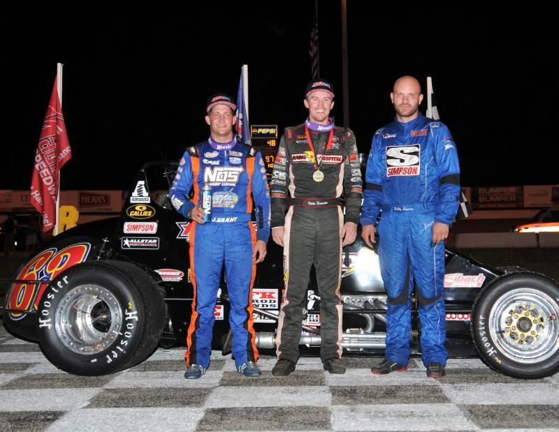 "Winner Kody Swanson (middle) is joined in victory lane by 2nd place finisher Bobby Santos (right) and 3rd place finisher Justin Grant (left) following Friday night's Bytec ""Dairyland 100"" at Wisconsin's Madison International Speedway. (Gene Crucean Photo)"